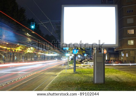 Billboard in the city street, blank screen clipping path included #89102044