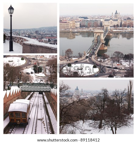 Wintertime in Budapest collage #89118412
