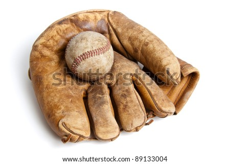 Vintage baseball and glove isolated on white Royalty-Free Stock Photo #89133004
