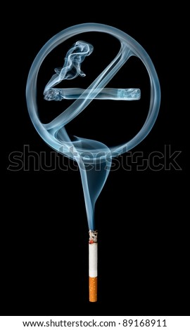 """No smoking"" smoke sign coming from a cigarette isolated on black background."