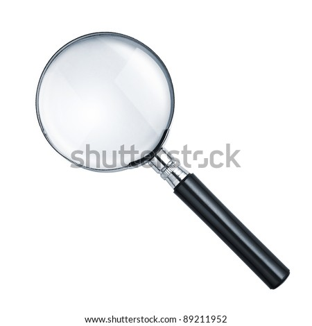 Magnifying glass isolated on white Royalty-Free Stock Photo #89211952
