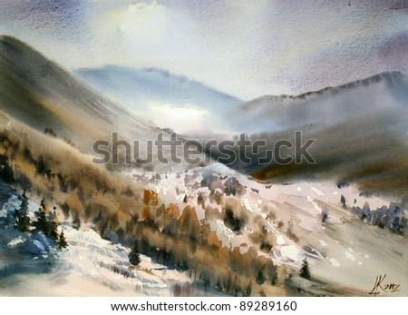 Mountain landscape painted by watercolor #89289160