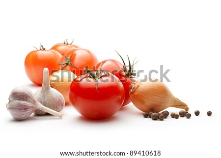 Tomatoes, onions, pepper and garlic isolated on the white background #89410618