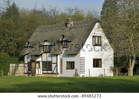 thatched cottage in an english village #89485273