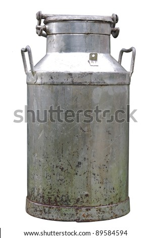 big old metal can on milk on white background #89584594