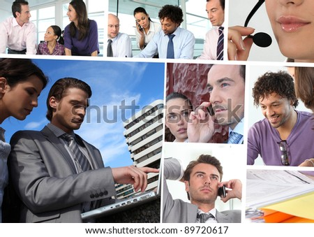 Mosaic of business people working #89720617