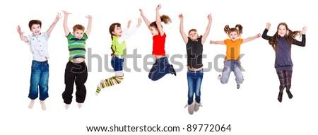 Group of jumping children, over white #89772064