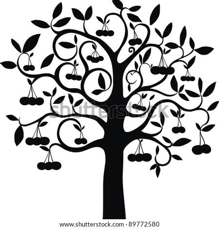 cherry tree isolated on White background. illustration