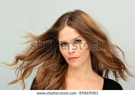Portrait of glamour beautiful young woman with long hair #89869081