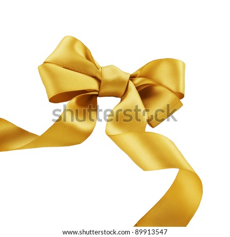 Bow. Golden satin gift bow. Ribbon. Isolated on white #89913547