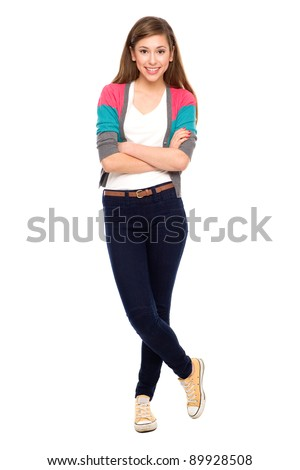 Teenage girl with arms crossed