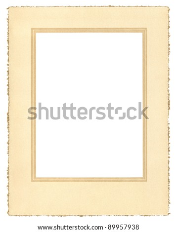 A vintage paper frame from about 1900 with a decorative border and a true deckle edge.  File includes a clipping path.