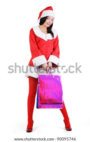 Christmas red woman with gift bag of gifts on white background #90095746