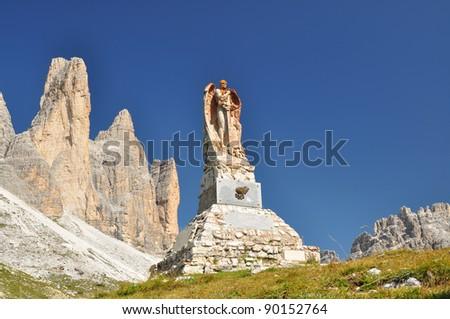 Memorial monument and Tre Cime di Lavaredo, Italy #90152764