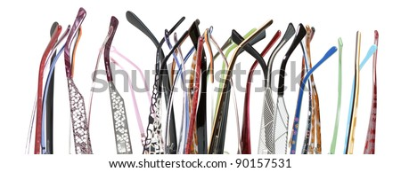 a lot of earpiece glasses on white background #90157531