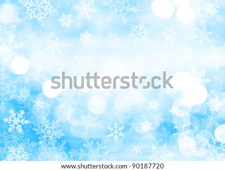 Blue Christmas background with snowflakes in different sizes. Snowflakes are drawn from these natural snowflakes.