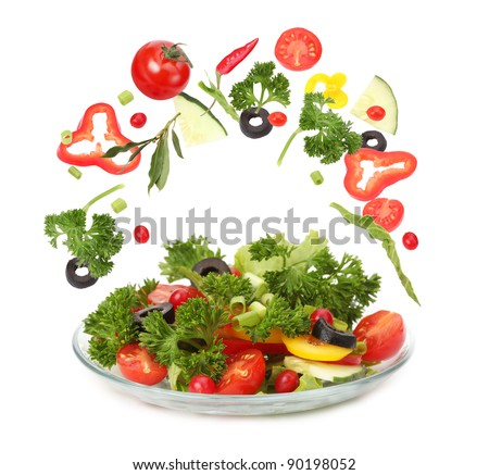 fresh salad and falling vegetables #90198052