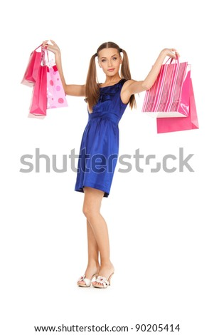 picture of lovely woman with shopping bags #90205414