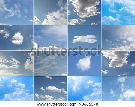 Collage of many different blue skies with white clouds #90686578