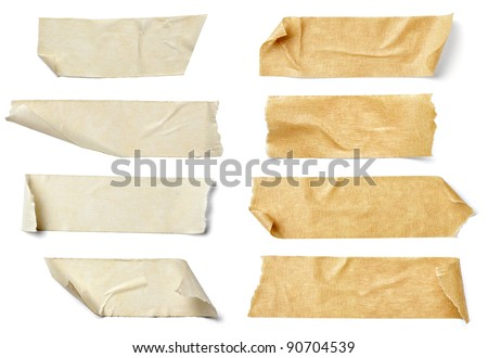 collection of  various adhesive tape pieces on  white background. each one is shot separately #90704539