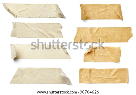collection of  various adhesive tape pieces on  white background. each one is shot separately #90704626