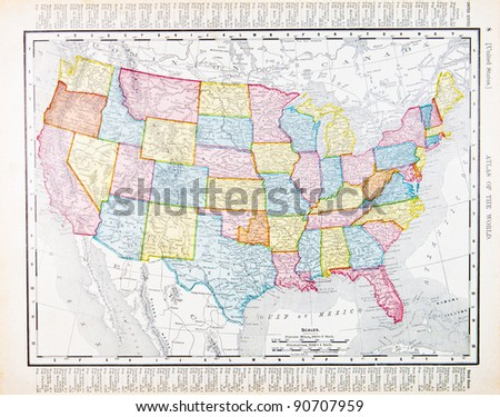 A map of the United States from Spofford's Atlas of the World, printed in the United States in 1900, created by Rand McNally & Co. Royalty-Free Stock Photo #90707959