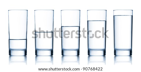 set of glasses filled with water on white background #90768422