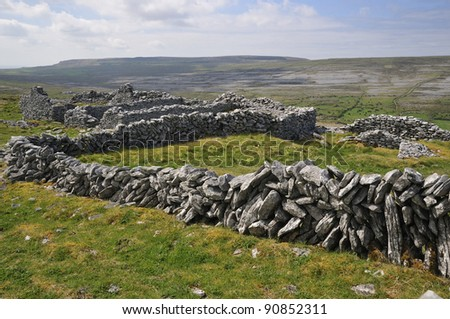 Old Ruined Farmstead and Stone Walls, Caher Valley, The Burren #90852311