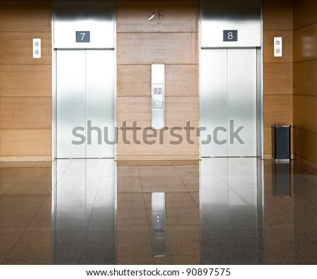 Elevator with two silver door #90897575