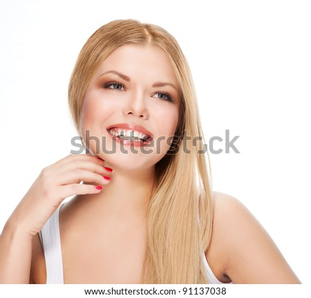 Attractive smiling women portrait with long blond hear #91137038