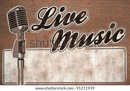 live music graffiti on brick wall