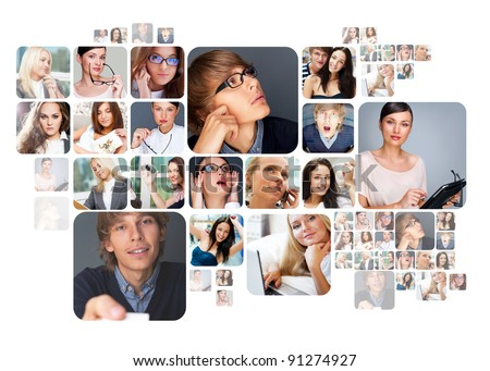 Collection of different people portraits