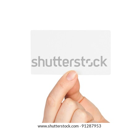 Hand holding blank business card isolate