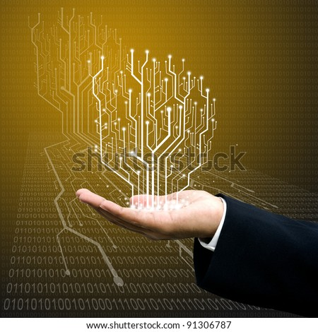 Circuit board graphic line on hand ,Technology background #91306787