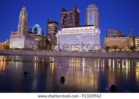 Columbus, Ohio seen during the winter evening