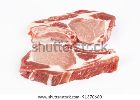 meat raw pork cutlet on a white background #91370660