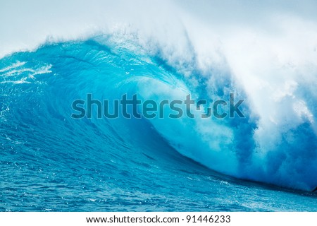 Beautiful Blue Ocean Wave Royalty-Free Stock Photo #91446233
