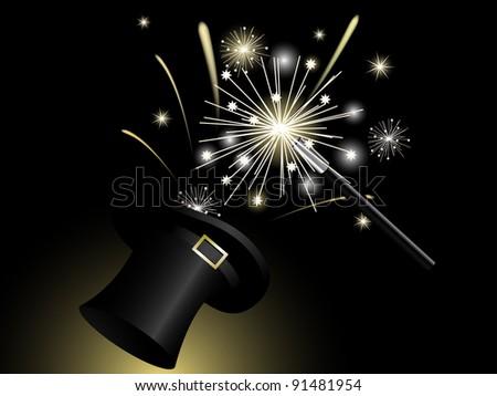 Sparklers in black magic hat #91481954