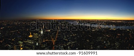 New York, Manhattan at sunset #91609991