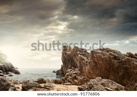 panoramic view of  nice colorful  huge cliff  and sea on the back #91776806