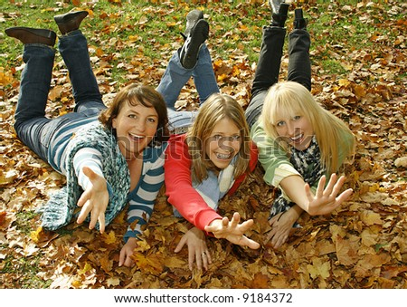 """three pretty girls having fun. keyword for this collection is """"autumn77"""" #9184372"""