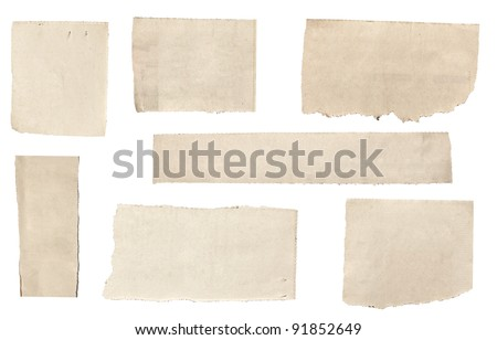collection of  white ripped pieces of news paper on on white background. each one is shot separately Royalty-Free Stock Photo #91852649