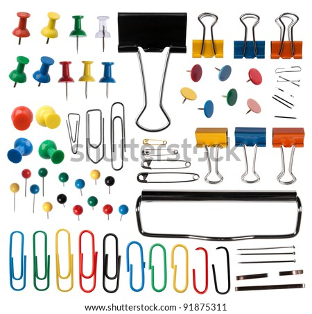 Pins and paper clips collection Royalty-Free Stock Photo #91875311