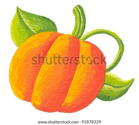 Acrylic illustration of pumpkin on white background