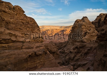 View over the valley of the ancient city Petra in todays Jordan. #91907774