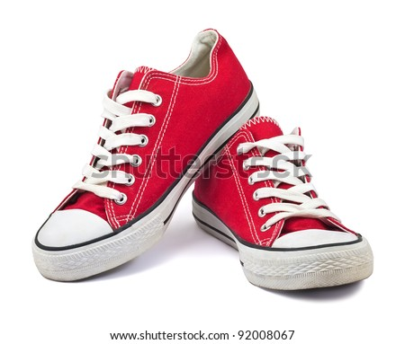 vintage red shoes on white background Royalty-Free Stock Photo #92008067