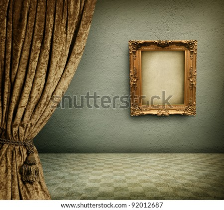 Old room with empty picture frame