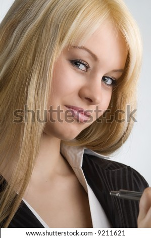 blond and nice working as hostess in formal dress #9211621