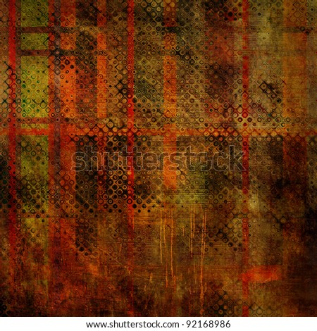 art abstract grunge texture red and green background with halftone #92168986