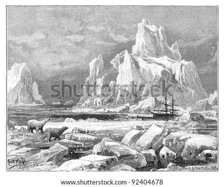 Ice bears - Davis Strait / vintage illustration from Meyers Konversations-Lexikon 1897